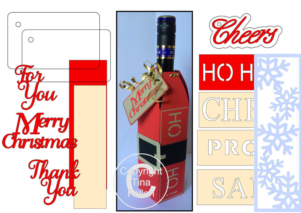 Wine Bottle Box Wraps - *BUMPER PACK *  Set 2 -   Christmas -  Studio format