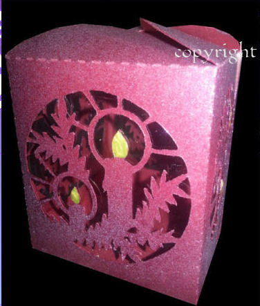 Candle and Holly Luminaire or gift box