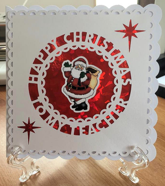 Happy Christmas TEACHER Card Topper.