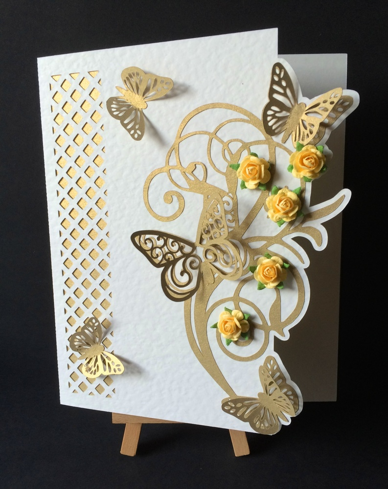 Butterfly Lattice Cut out card with topper  SVG