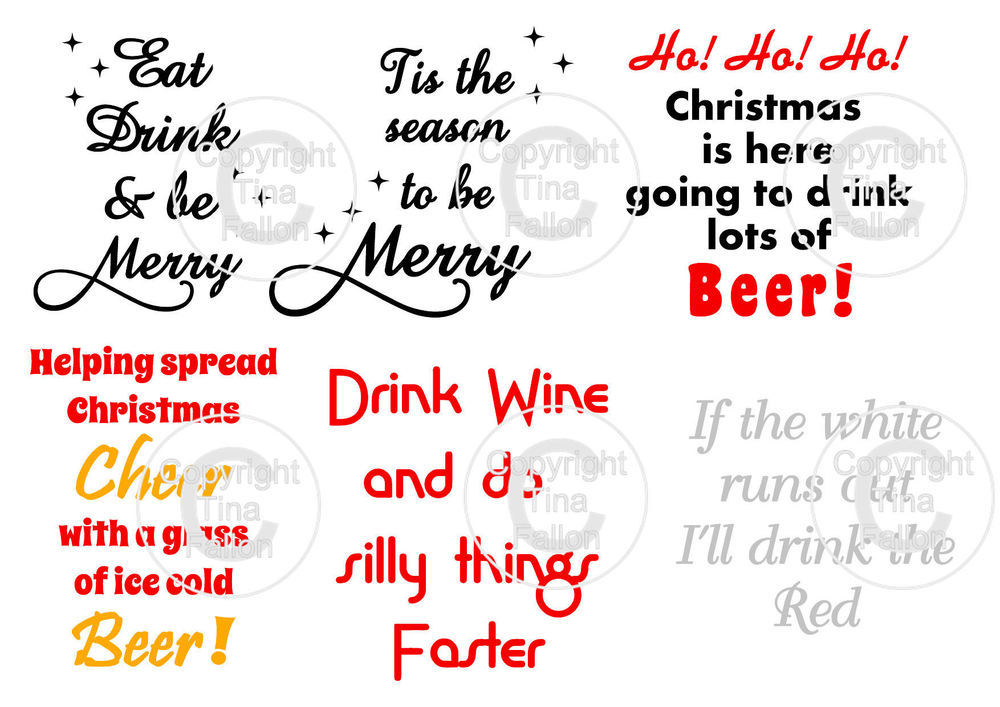 Christmas Drinks  -  ideal for vinyl application on wine / beer glasses - studio format