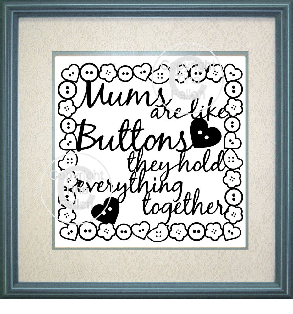 Mums are Like Buttons Design No 3   - commercial use  SVG format