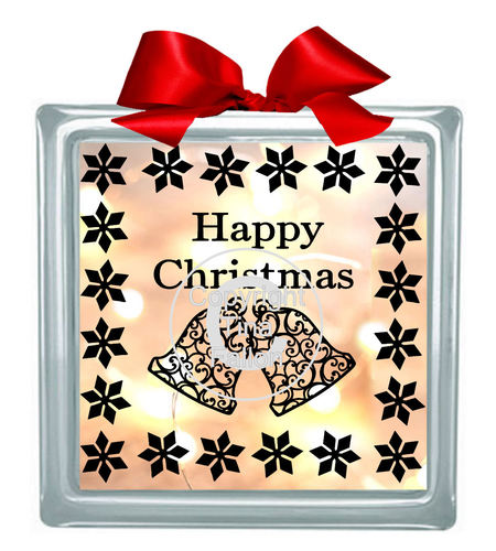 Christmas Bells Glass Block Tile Design 6x6 inches svg