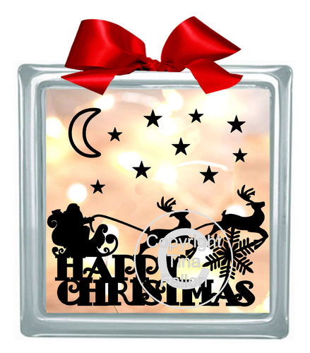 Santa and Reindeer Glass Block Tile Design 6x6 inches svg