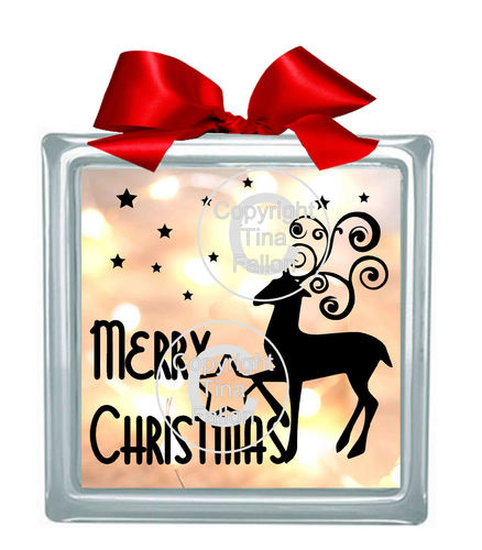 Merry Christmas Reindeer  Glass Block Tile Design 6x6 inches svg
