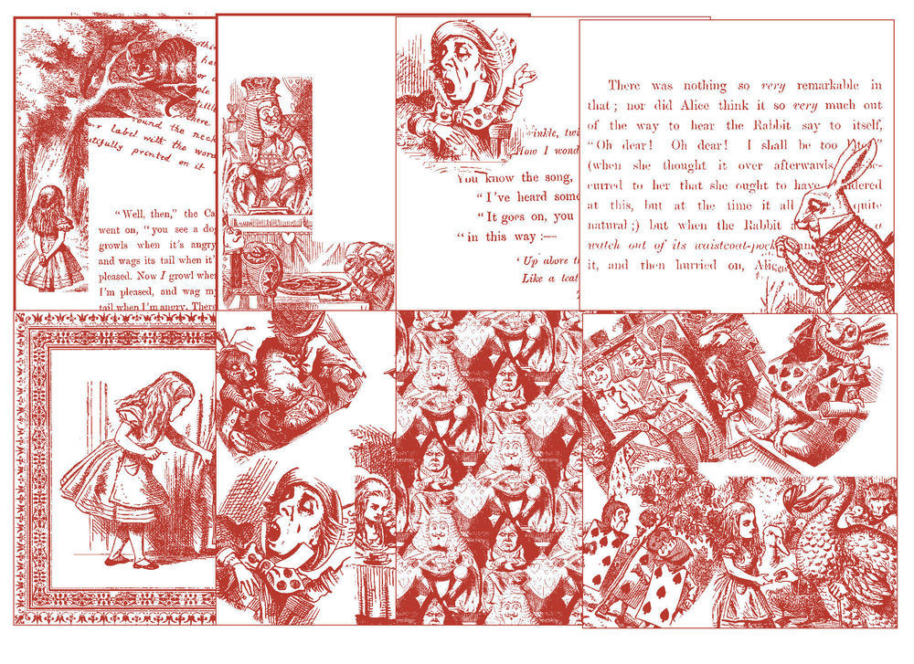 Alice in Wonderland  - 24 Backing Papers (Red on White) - hand cut JPEGS