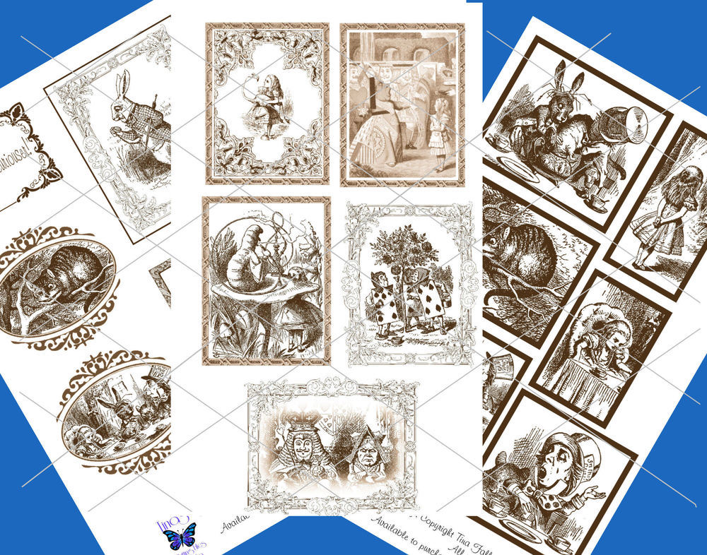 Alice in Wonderland  - 70 assorted toppers  (Brown on white ) - studio format print n cut