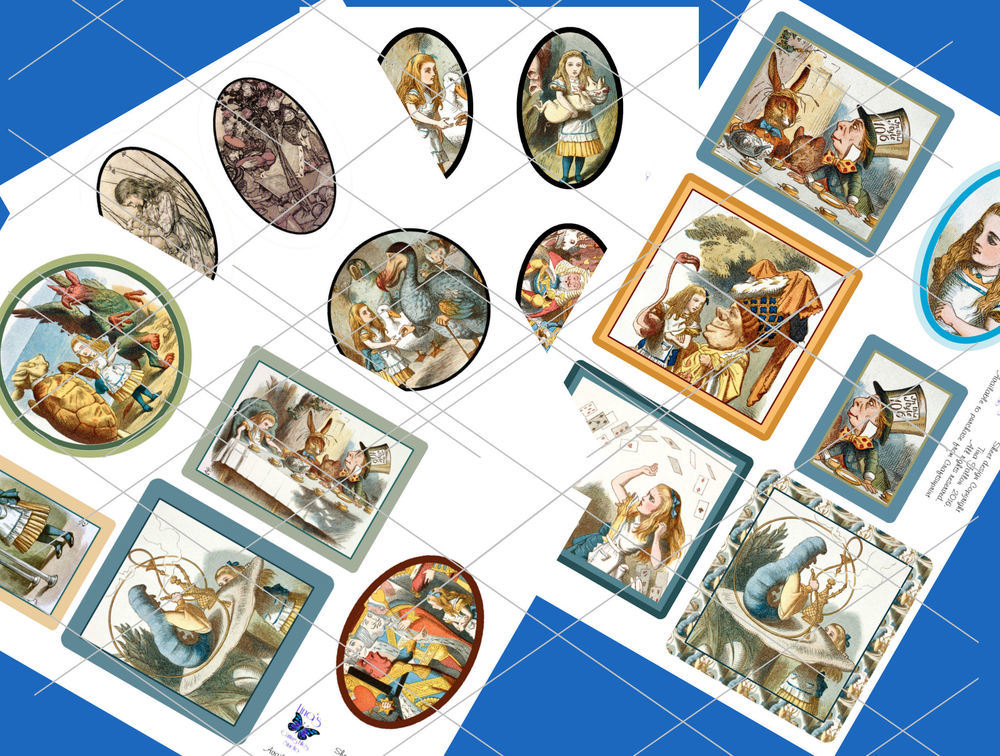 Alice in Wonderland  - 21 assorted toppers  (full colour) - JPEGS