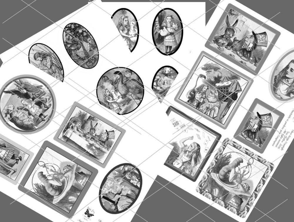 Alice in Wonderland  - 21 assorted toppers  (grey scale) - JPEGS