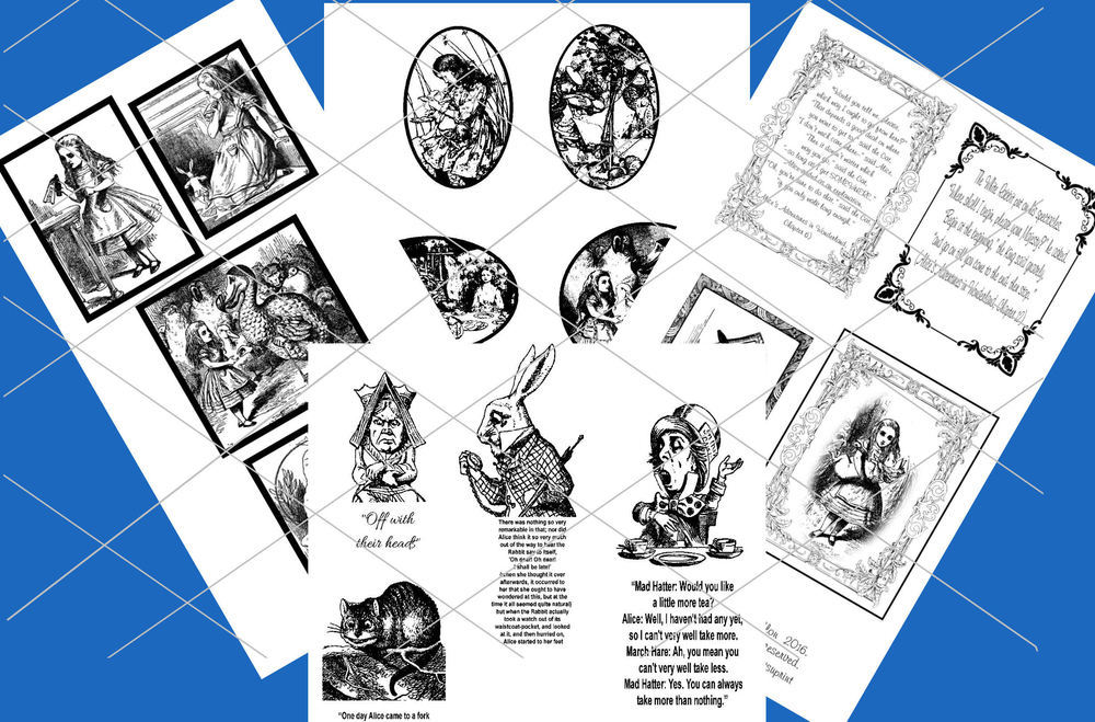 Alice in Wonderland  - 70 assorted toppers  (Black on white ) - JPEGS