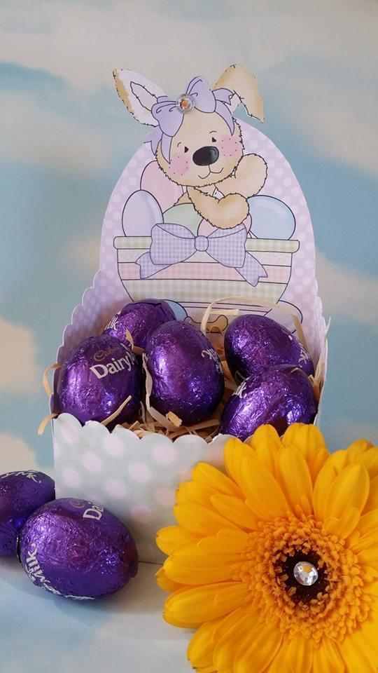 Easter  Chocolate Box K-    print n cut studio cutting file. (lilac polka dot)