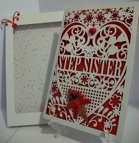 Step Sister Birthday Card (with box)  beautiful cutout design