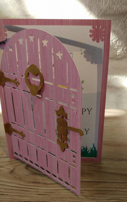 Fairy Door Folded Card Blank * Silhouette cutting file * with 12 sheets of wood patterned papers in jpeg format, door furniture and fairy wording cutting files also included