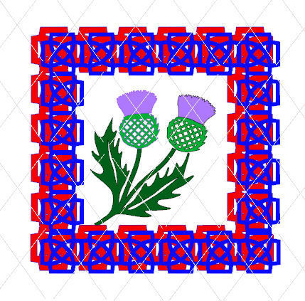 Scottish Thistle themed card topper and  border Scotland