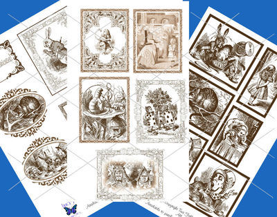Alice in Wonderland  - 70 assorted toppers  (Brown on white ) - JPEGS