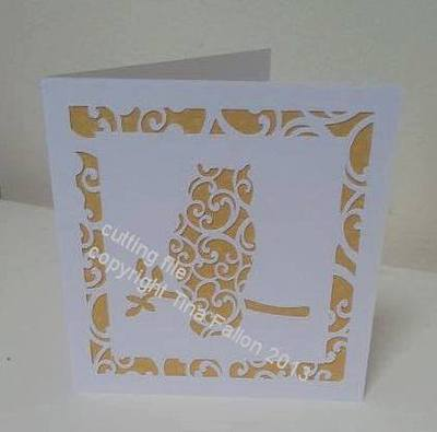 Owl Filigree Card Template