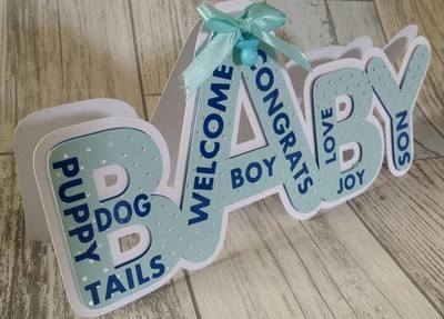 Baby Boy - Layered Word Shaped Card