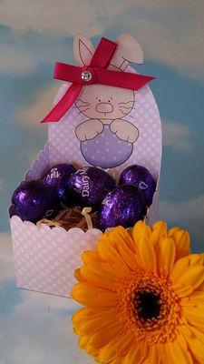 Easter  Chocolate Box J -    print n cut studio cutting file. (lilac polka dot)