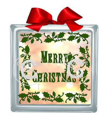 Holly Frame Merry Christmas Glass Block Tile Design 6x6 inches STUDIO/FCM and SVG
