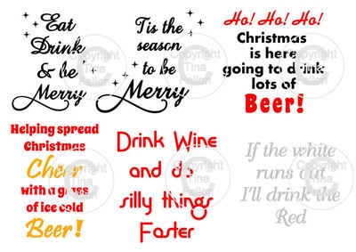 Christmas Drinks  -  ideal for vinyl application on wine / beer glasses - svg format