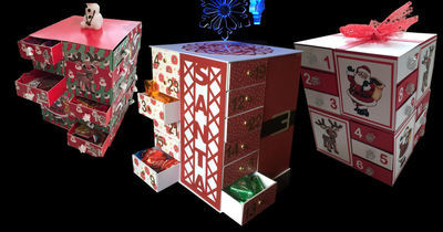 24 drawer Advent Cube ( SVG/STUDIO/FCM with optional Christmas Santa Outfit and cut out panel decor bits)