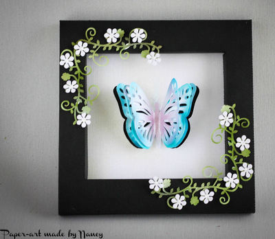 Layered Butterfly Pop Out complete in its own Shadow Box Frame - SVG file
