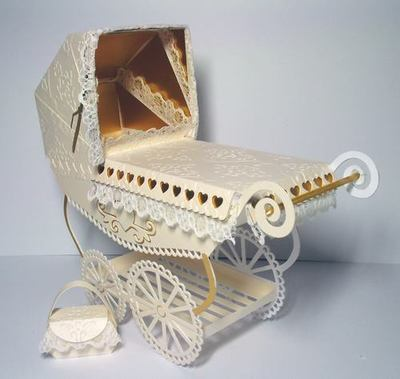 Vintage Pram with choice of covers and parasols and box FCM/GSD/DXF formats