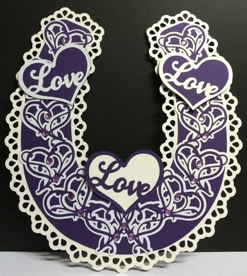 Bridal / Bride Wedding horseshoe  - Ornate Hearts  SCANNCUT