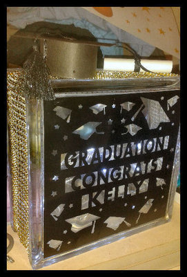 Mortar, Student, Graduation  Glass Block luminaire front
