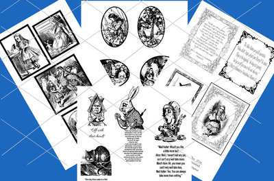 Alice in Wonderland  - 70 assorted toppers  (Black on white ) - studio format print n cut