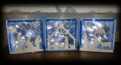 Nativity 3 part set  Glass Block Tile Design 6x6 inches svg / fcm