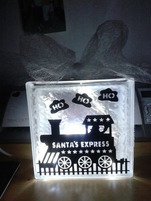 Santas Express Frame Glass Block Tile Design SVG fcm