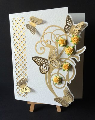Butterfly Lattice Cut out card with topper,