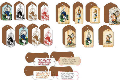 Alice in Wonderland  - 19 assorted Tags with backers - studio format print n cut