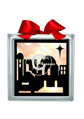 Bethlehem  Glass Block Tile Design 6x6 inches svg