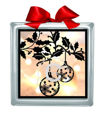 Baubles Frame Glass Block Tile Design 6x6 inches svg