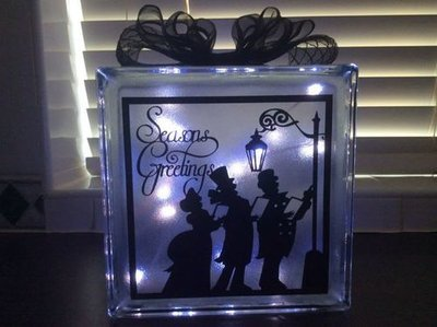 Seasons Greetings Carol Singers Glass Block Tile Design 6x6 inches SVG / FCM