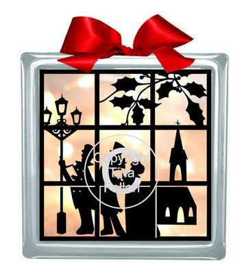 Carol Singers Window Scene Glass Block Tile Design 6x6 inches svg