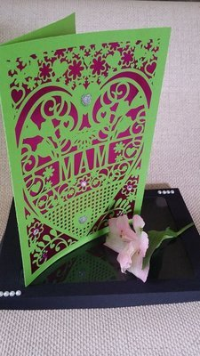 Mam  Birthday Card (with box)  beautiful cutout design