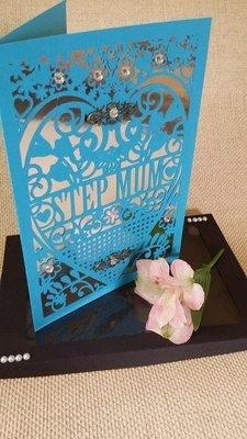 Step Mum  Birthday Card (with box)  beautiful cutout design