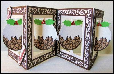 Accordian Card - Christmas Pudding -  SVG format