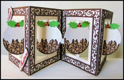 Accordian Card - Christmas Pudding -  Studio file A4 12x12 and A3 see product description