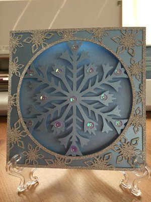 Frozen Snowflake Christmas Card and border frame