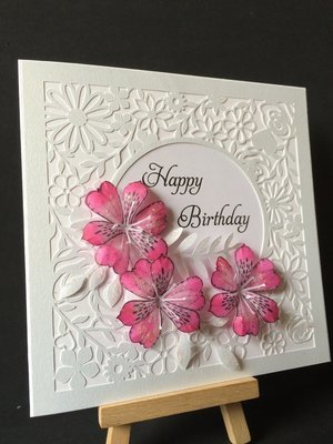 Beautiful floral themed square Card Topper