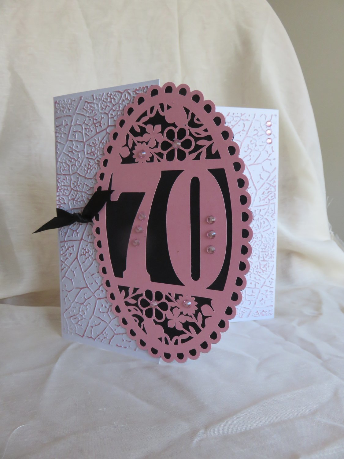 70th Birthday oval card topper - studio.