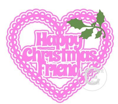 Christmas Heart Friend Card Topper / Hanging Ornament