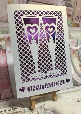 Wedding Glasses in lattice work Invitation  civil