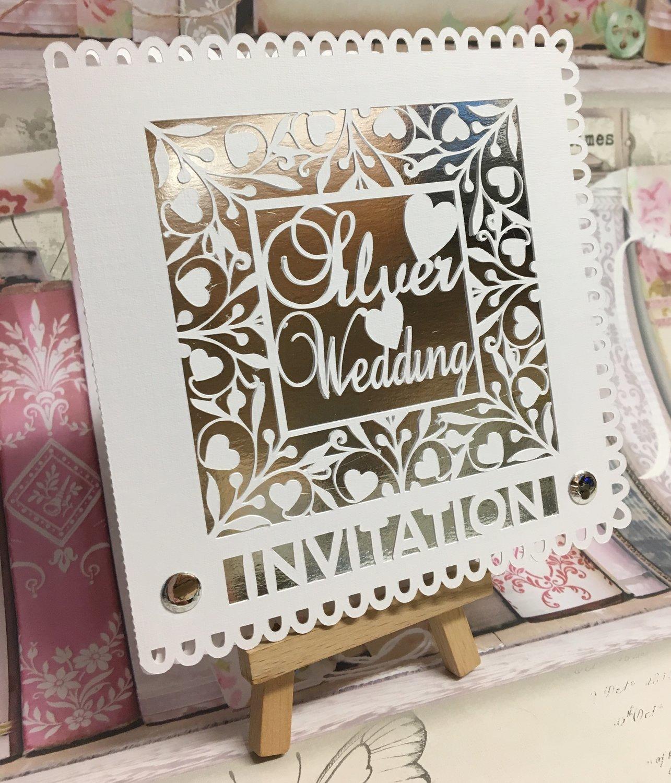 Silver Wedding Invitation card template