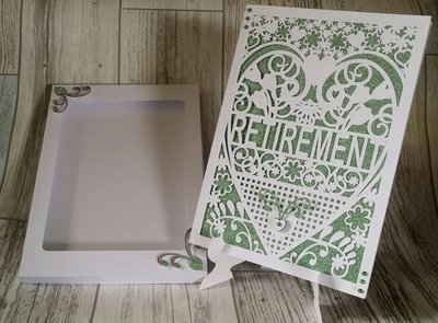 Retirement Card (with box)  beautiful cutout design  Studio / SVG / FCM / and SCAL