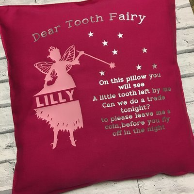 Tooth Fairy Design for Cushions (split fairy so name can be added)  HTV, vinyl